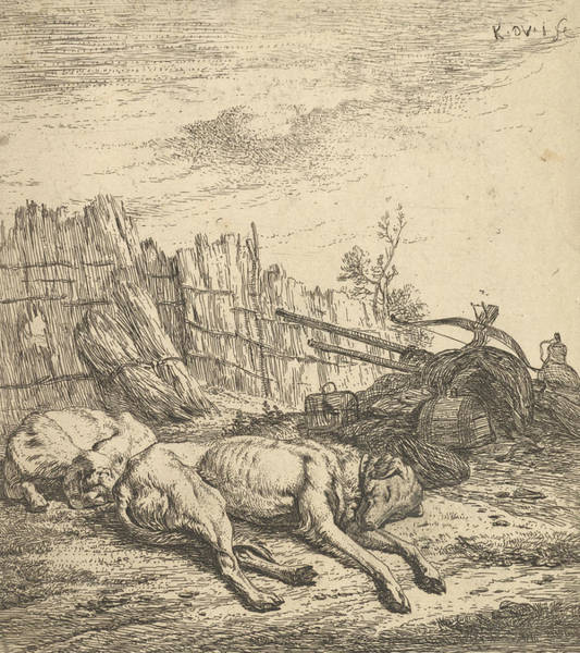 Wall Art - Relief - Two Dogs Sleeping On The Ground by Karel Dujardin