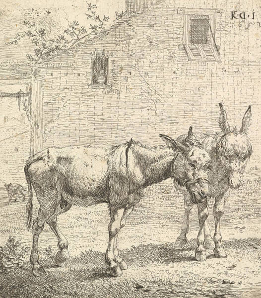 Relief - Two Donkeys Standing In A Grassy Yard, One In Profile View Facing Right by Karel Dujardin