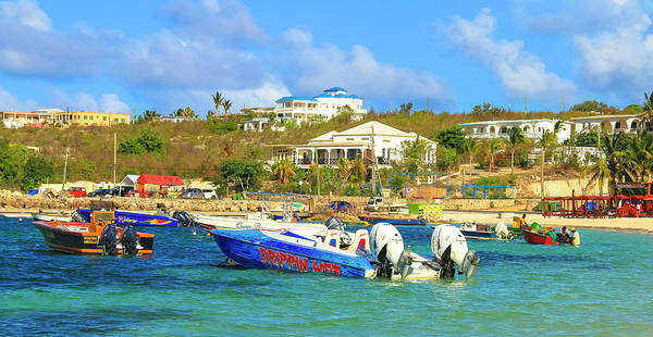 Photograph - Two Engine Dripping Wet Motor Boat At Island Harbour In  Anguilla by Ola Allen