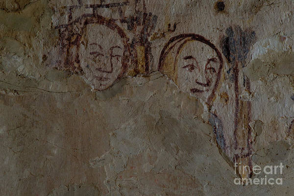Wall Art - Photograph - Two Faces From Middle Ages England, Wall Painting In The Cotswolds Ivy Church, Ampney St Mary Uk by Terence Kerr
