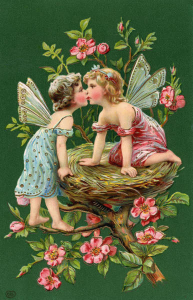 Style Digital Art - Two Fairies Kissing In A Nest by Graphicaartis