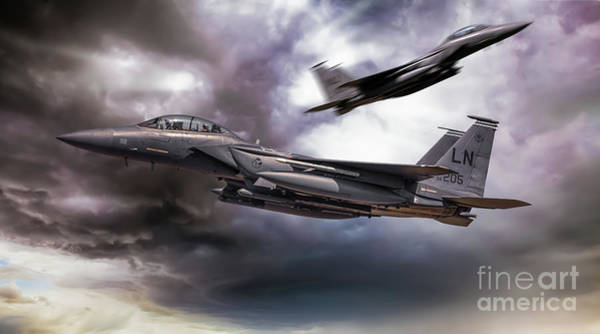 Wall Art - Digital Art - Two Fighter Jets Passing In Storm Clouds by Simon Bratt Photography LRPS