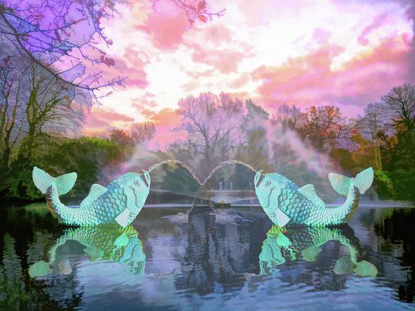 Wall Art - Digital Art - Two Fish Fountain 1 Watercolor  by Linda Brody
