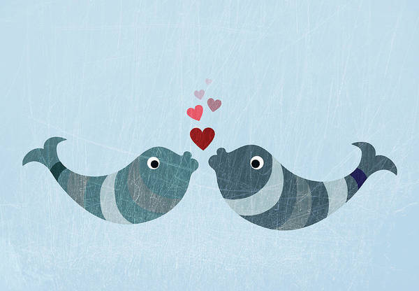 Romance Digital Art - Two Fish Kissing by Fstop Images - Jutta Kuss