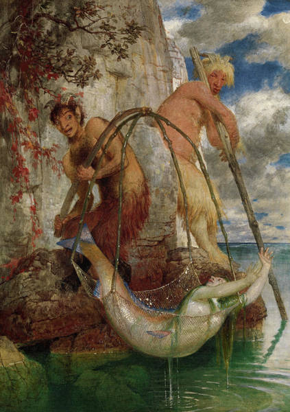 Wall Art - Painting - Two Fishing Pan's by Arnold Bocklin