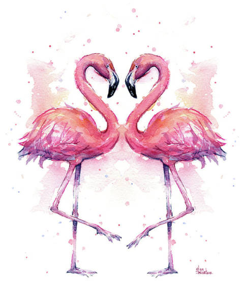 Flamingos Wall Art - Painting - Two Flamingos In Love Watercolor by Olga Shvartsur