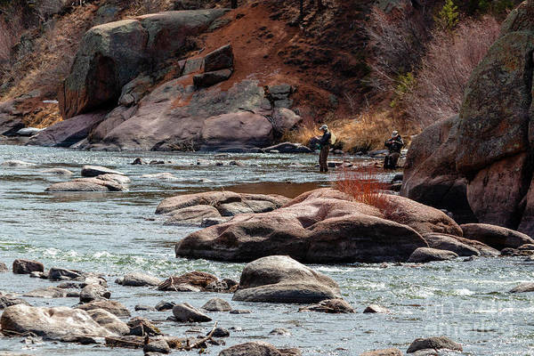 Photograph - Two Fly Fishermen On The Platte In The Colorado Rockies by Steve Krull