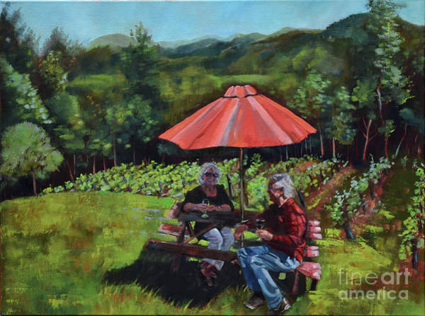 Painting - Two Friends At Ott Farms And Vineyards by Jan Dappen