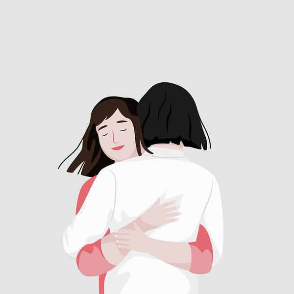 Wall Art - Photograph - Two Friends Hugging by Ikon Images
