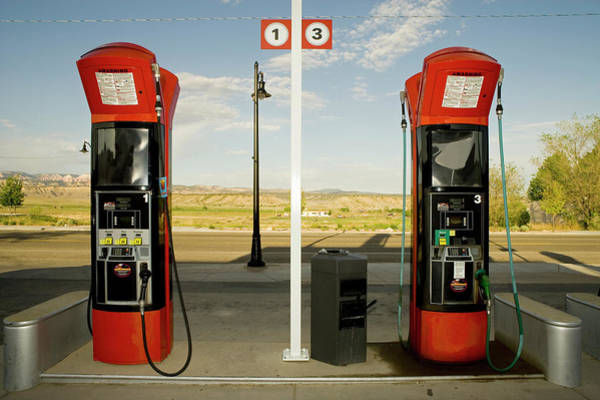 Fossil Fuel Photograph - Two Fuel Pumps At Rural Gas Station by Seth Joel