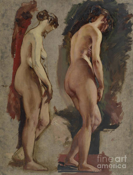 Wall Art - Painting - Two Full Length Standing Female Nudes, Turned To The Right by William Etty