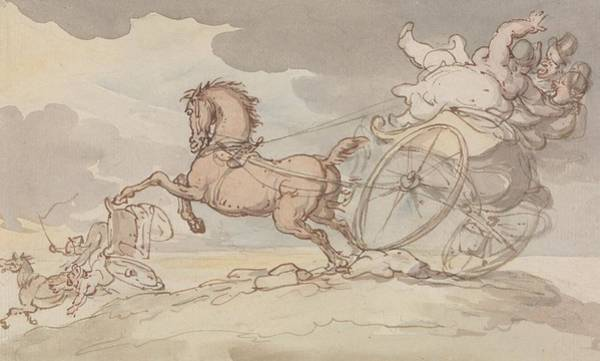 Drawing - Two Gigs In Trouble by Thomas Rowlandson