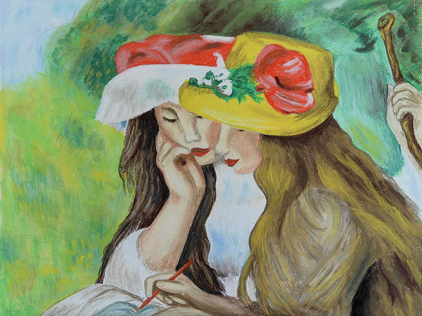 Pastel - Two Girls After Renoir by Howard Bagley