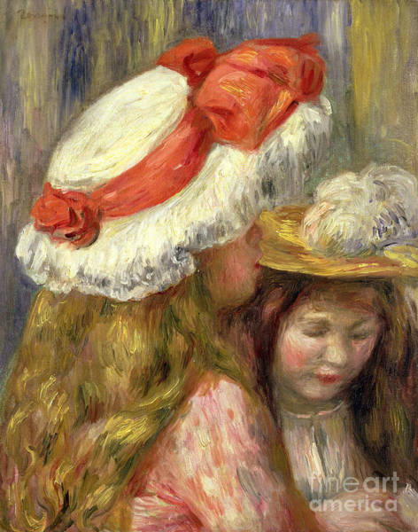 Wall Art - Painting - Two Girls With Hats, Circa 1890  by Pierre Auguste Renoir