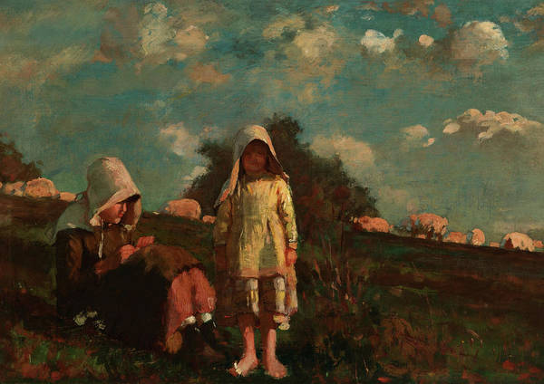Wall Art - Painting - Two Girls With Sunbonnets In A Field by Winslow Homer