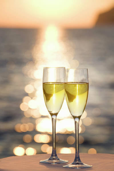 Celebration Photograph - Two Glasses Of Champagne At Sunset by Bill Holden