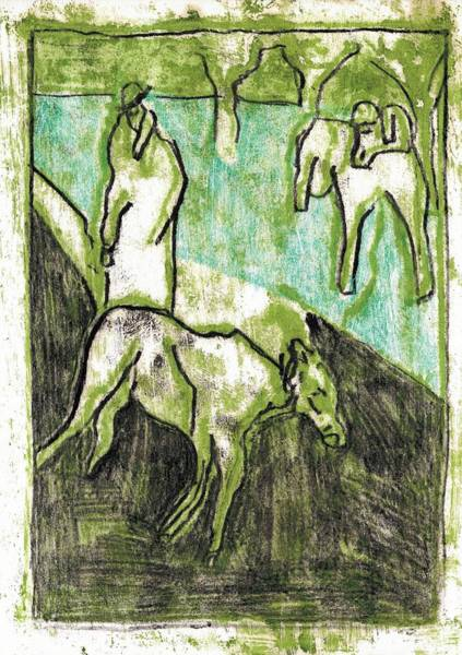 Painting - Two Goats 6 by Artist Dot
