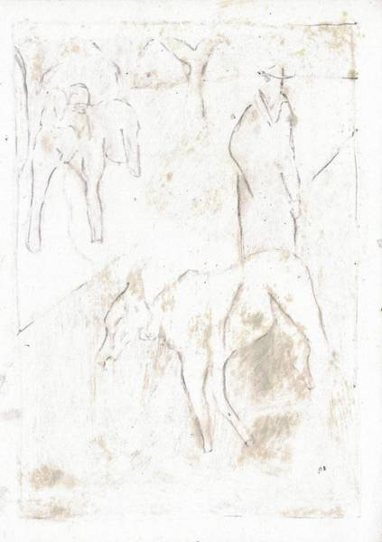 Drawing - Two Goats 8 by Artist Dot