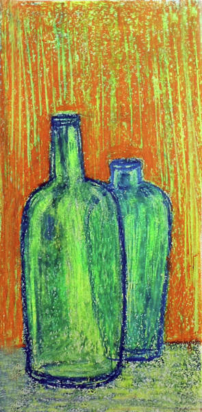 Wall Art - Painting - Two Green Bottles by Asha Sudhaker Shenoy