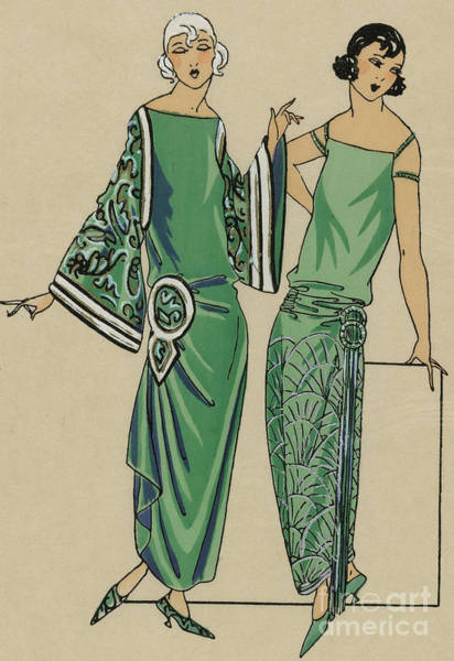 Wall Art - Drawing - Two Green Dresses With Embroidery Designed By Alice Bernard, Print From Tres Parisien, 1923  by French School