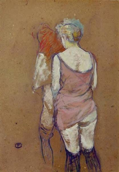 Wall Art - Painting - Two Half-naked Women Seen From Behind In The Rue Des Moulins Brothel - 1894 - Musee D Orsay - Albi - by Henri de Toulouse-Lautrec
