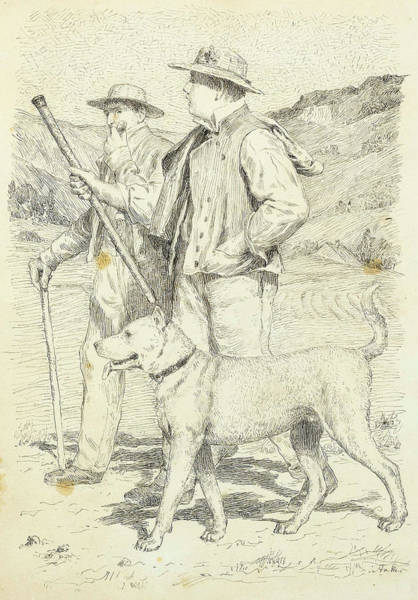 Anker Digital Art - Two Hikers With Dog by Brahaman Dhumsi