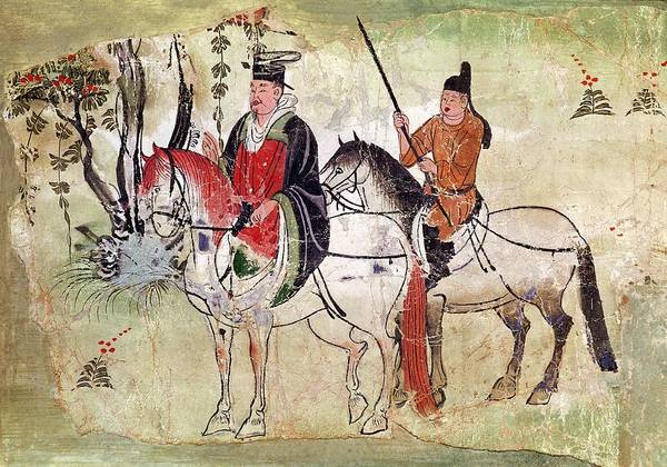 Boddhisatva Wall Art - Painting - Two Horsemen In A Landscape Or  The Boddhisatva And His Equerry  Tang Period  by Anonymous
