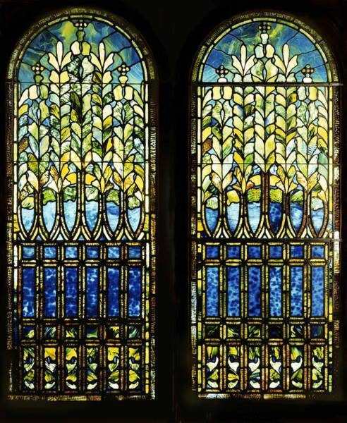 Leaded Glass Painting - Two Leaded And Plated Glass Windows  by Tiffany Studios