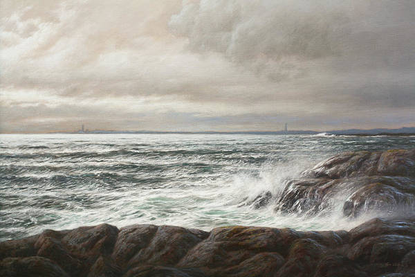 Wall Art - Painting - Two Lighthouses by Hans Egil Saele
