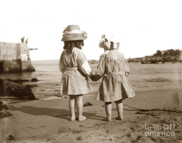 Photograph - Two Little Girls On Beach At Lovers Point Pacific Grove Circa 19 by California Views Archives Mr Pat Hathaway Archives