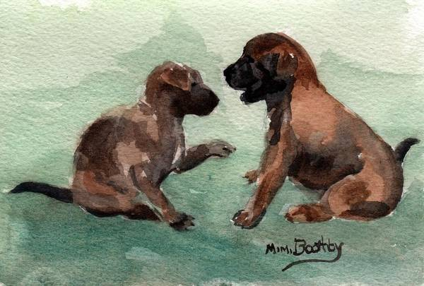 Painting - Two Malinois Puppies by Mimi Boothby
