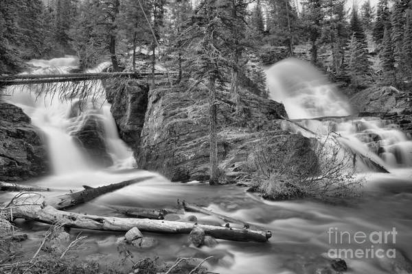 Photograph - Two Medicine Twin Falls Black And White by Adam Jewell
