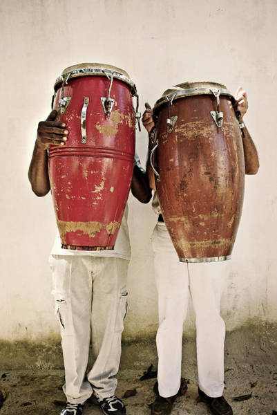 Drum Photograph - Two Men Holding Bongos In Front Of by Holly Wilmeth