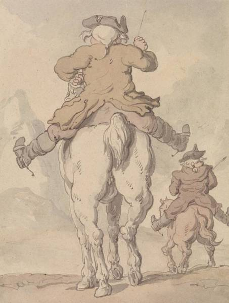 Drawing - Two Men On Horseback Seen From Behind by Thomas Rowlandson