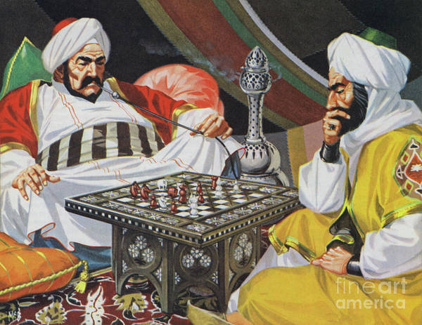 Wall Art - Painting - Two Men Playing Chess by Angus McBride