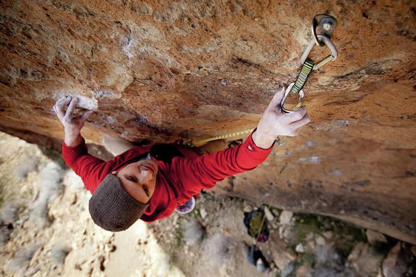 Climbing Photograph - Two Men Rock Climbing by Jordan Siemens