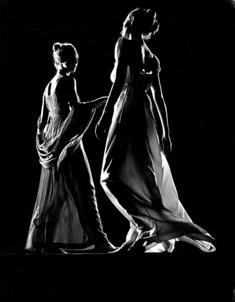 Photograph - Two Models Posing In Light Colored Sheer by Gjon Mili