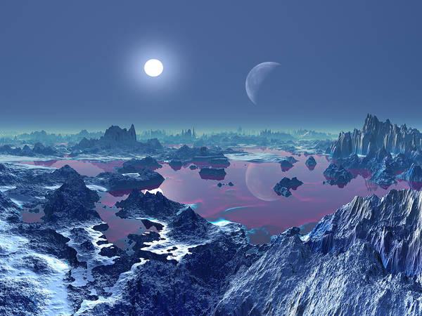 Mottled Wall Art - Photograph - Two Moons Over Alien Landscape by Albert Klein