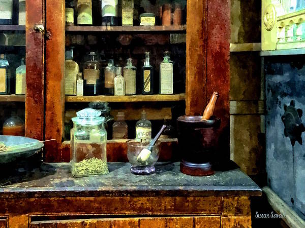 Photograph -  Two Mortar And Pestles And Glass Jar by Susan Savad