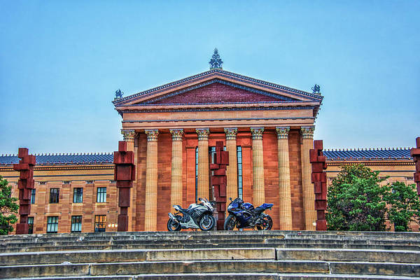 Wall Art - Photograph - Two Motorcycles On Top Of The Art Museum Steps by Bill Cannon