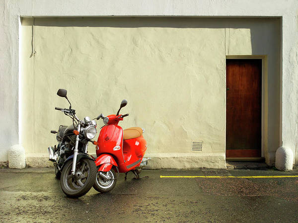 Heterosexual Couple Photograph - Two Motorcycles Parked On Road by Laurence Dutton
