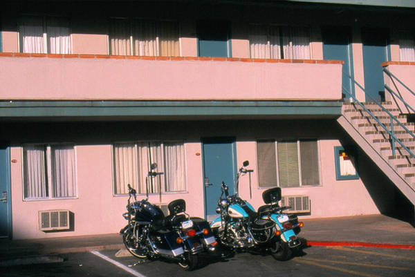 Parking Structure Photograph - Two Motorcycles Parking In Front Of by Steve Parry
