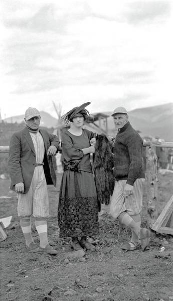 Painting - Two Mountain Park Baseball Players And A Woman With A Fur Coat, Mountain Park, Alberta, Ca. 1920 By  by Charles Lee