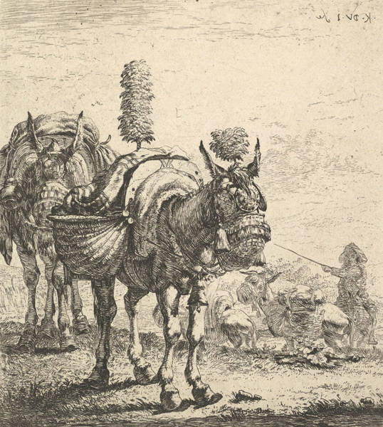 Relief - Two Mules Bearing Panniers And Outfitted With Blinders, Plumes, And Tassels by Karel Dujardin
