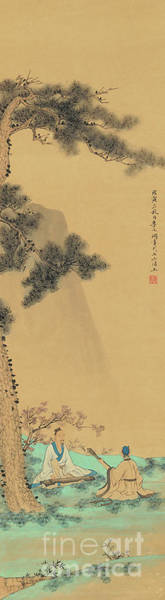 Wall Art - Painting - Two Musicians, 1758 by Li Wenyuan