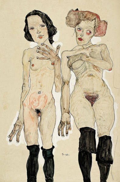 Wall Art - Painting - Two Naked Girls With Black Stockings, 1910 by Egon Schiele