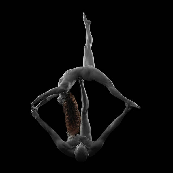 Wall Art - Photograph - Two Naked Muscular Gymnasts by Panoramic Images