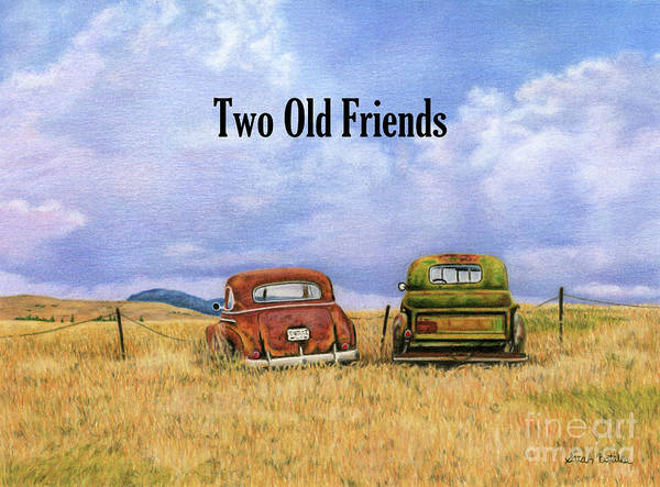 Old Chevy Truck Painting - Two Old Friends- With Text2 by Sarah Batalka
