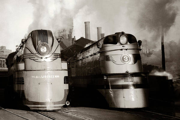 Photograph - Two Old Trains Milwaukee Road by Marilyn Hunt