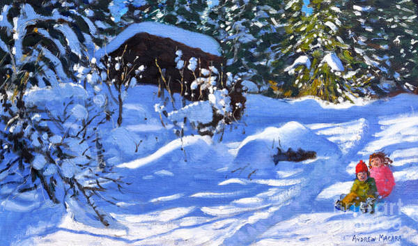 Two Friends Wall Art - Painting - Two On A Sledge, The Orchard, Morzine  by Andrew Macara